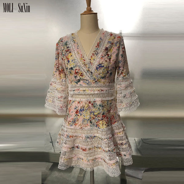 Wholesale Flare Sleeve Lovelorn Floral Flutter Dress