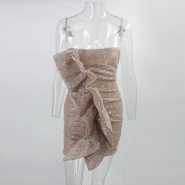 MOLI Runway Sequin Dress Tight Slim Ruffled Party Bandage Dress
