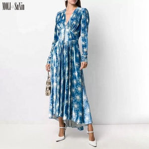 Wholesale  Sexy Elegant V Neck Velvet Maxi Dress