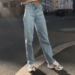MOLI 2020  Streetwear Jeans Zipper  High Waist Straight Pants