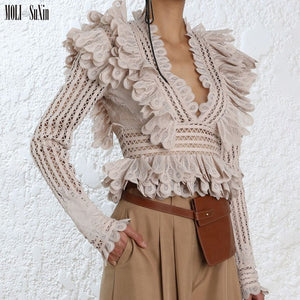 MOLI 2019 fashion design high quality v-neck pleated australia shirt top hollow out Blouse