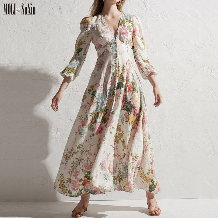 19 Spring and summer new tropical flower print holiday deep V-neck slim cotton long-sleeved dress