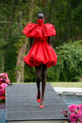 Christian Siriano's latest collection included masks for wearing during the pandemic. DAN LECCA PHOTO