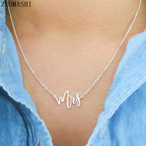 Mrs Necklace Initials Mrs Pendant Necklace For Women
