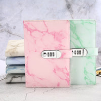 A5 Marble Texture Notebook Password Lock Notebooks Leather Notepad Agenda 2020