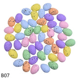 rictons - 3x4cm Painted Foam Bird Pigeon Eggs Happy Easter Colorful Egg Decoration
