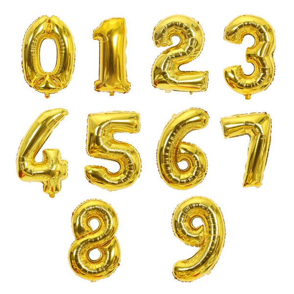 Big Size Gold Sliver Rose Gold Number Balloon Birthday Wedding  Party Foil Balloons