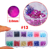 2500 Pcs Nail Art Stickers Rhinestones Glitter Decoration Mixed 12 Colors in Case