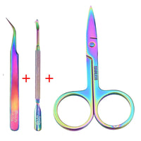 Stainless Steel Manicure 3 PCS Cuticle Pusher Remover Scissors Manicure Set