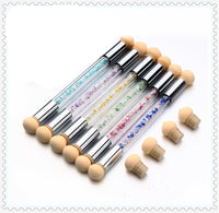 1pcs Double Head 4pcs Sponge Nail Art brushes for Gel Penseel Nail Glitter Powder Picking