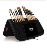 rictons - 14pcs paint brushes set acrylic watercolor brushes with pencil case