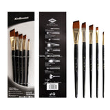 5pcs/set Nylon Hair Oil Paint Brush Set Round Flat Brush Acrylic Watercolor
