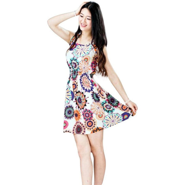 Summer Sleeveless Sunflower Print Lady Casual Beach Mini Dress
