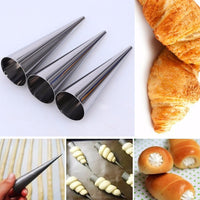 Croissant Mould Stainless Steel Creative Conical Tube Cone Baking Tools