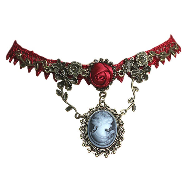 Fashion Necklace Jewelry Vintage Stylish Cameo Red Rose Lace Choker For Women Gift Pendant