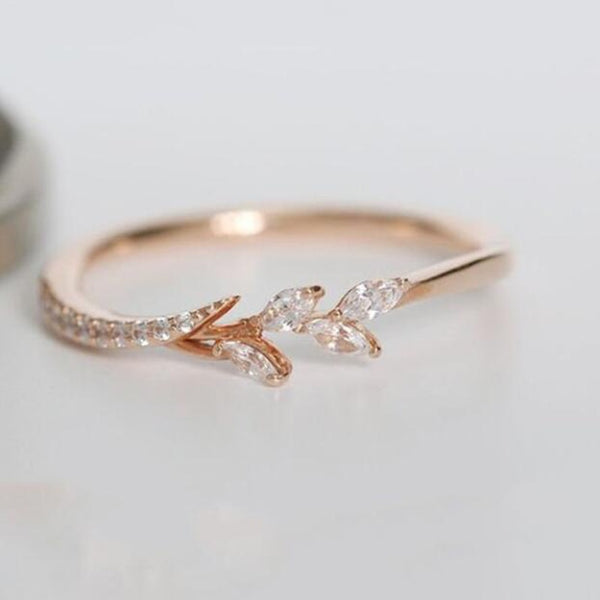 Leaf Crystal Engagement Rings Women's Eternity Wedding Band Ring