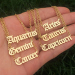 12 Zodiac Letters Pendant Necklace Scorpio Aries Taurus Gemini Cancer Leo Horoscope Signs Necklace