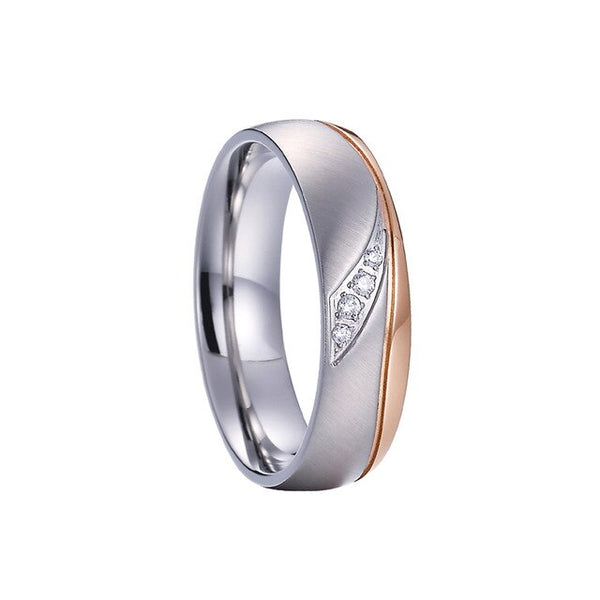 Men's and Ladies Rose Gold Color Alliances marriage Couple Wedding Rings set For men and women stainless steel jewelry ring