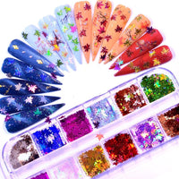 Holographic Leaves Nail Art Decorations Nail Glitter Flakes