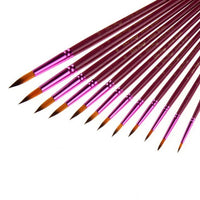 rictons - 12Pcs/Lot Nylon Hair Paint Brush Different Size Artist Fine Oil Painting Brushes