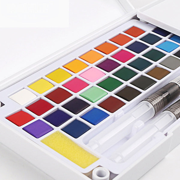 12/18/24/36 Colors Portable Travel Solid Pigment Watercolor Paints Set With Water Color Brush