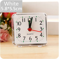 Alarm Clock Square Small Bed Compact Travel Clocks Mini Children Student Desk Bedside Desk Table Home Quartz Beep Cute Portable - Rictons