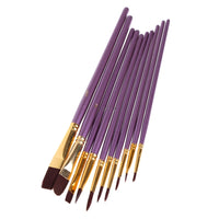 rictons - 10Pcs Purple Artist Paint Brush Set Nylon Hair Watercolor Acrylic Oil Painting Brushes