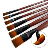 6pcs/set Artist Nylon Oil Paint Brush Pen for Painting Wooden Handle Paint Brushes