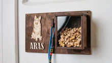 Load image into Gallery viewer, Pet Accessories wall holder with a treat box and a custom dog picture