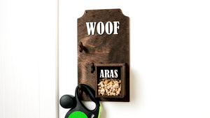 Dog accessories wall holder with a treat box