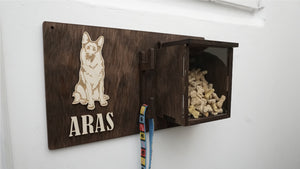 Pet Accessories wall holder with a treat box and a custom dog picture