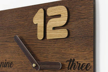 Load image into Gallery viewer, Minimalist clock,  Wooden clock, Industrial clock, Wooden wall clock, Vintage look