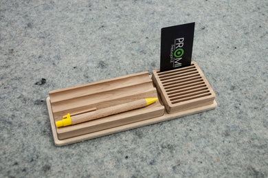 Wooden desk organizer, Organize your pens and business cards, Desk organizing ideas