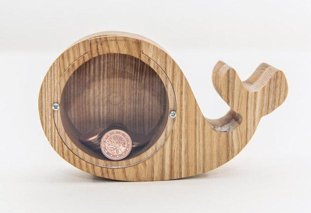 Whale money box, Solid tree money box, Wooden money box, Collectible coin box, Wood piggy bank, Baby money bank, Baby Shower Gift