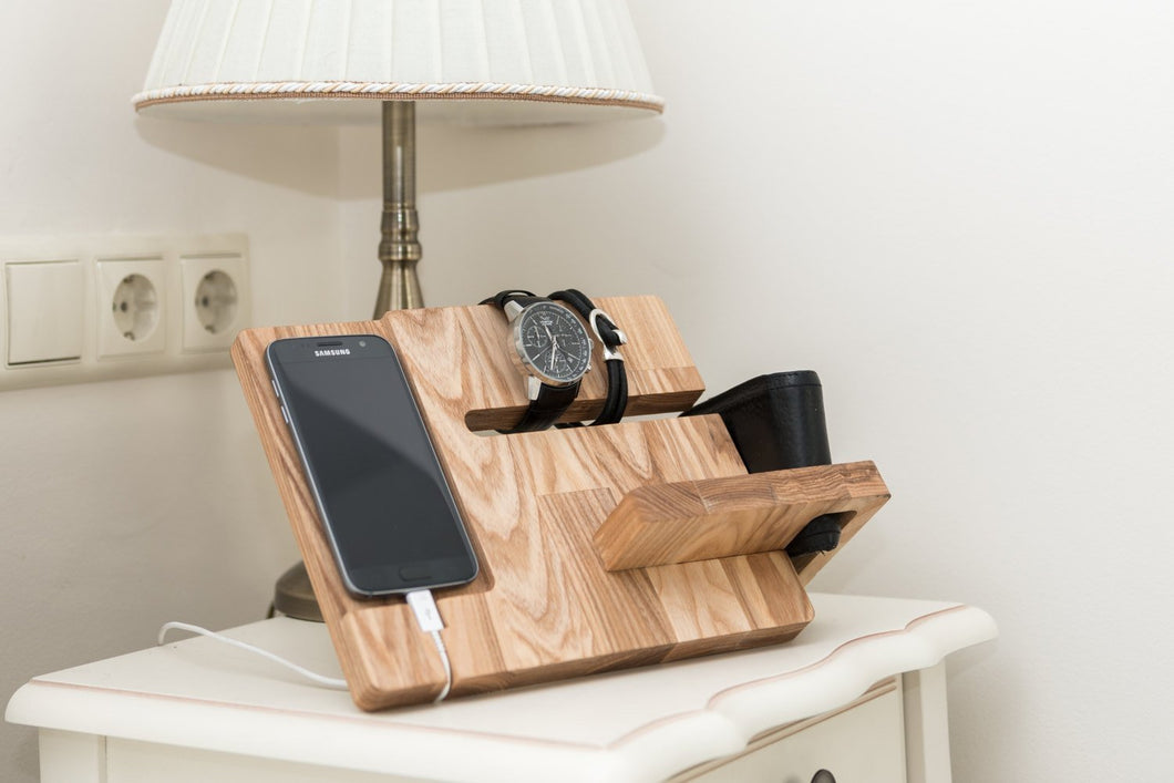Wooden docking station Charging station organizer Charging dock  Christmas gift for boyfriend CHristmas gift for husband