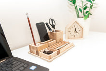 Load image into Gallery viewer, Wooden desk organizer - Big table organizer - Wooden office organizer - Table organization - Complete desk storage - Male gift