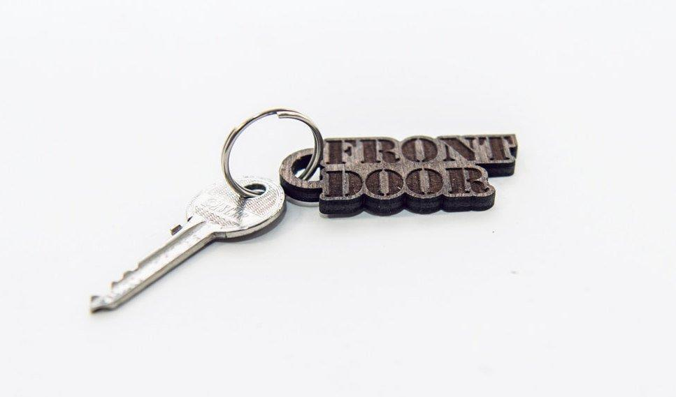 FRONT DOOR - Key ring wood - Gifts under 5 -  Wood gift home - Keyring for him
