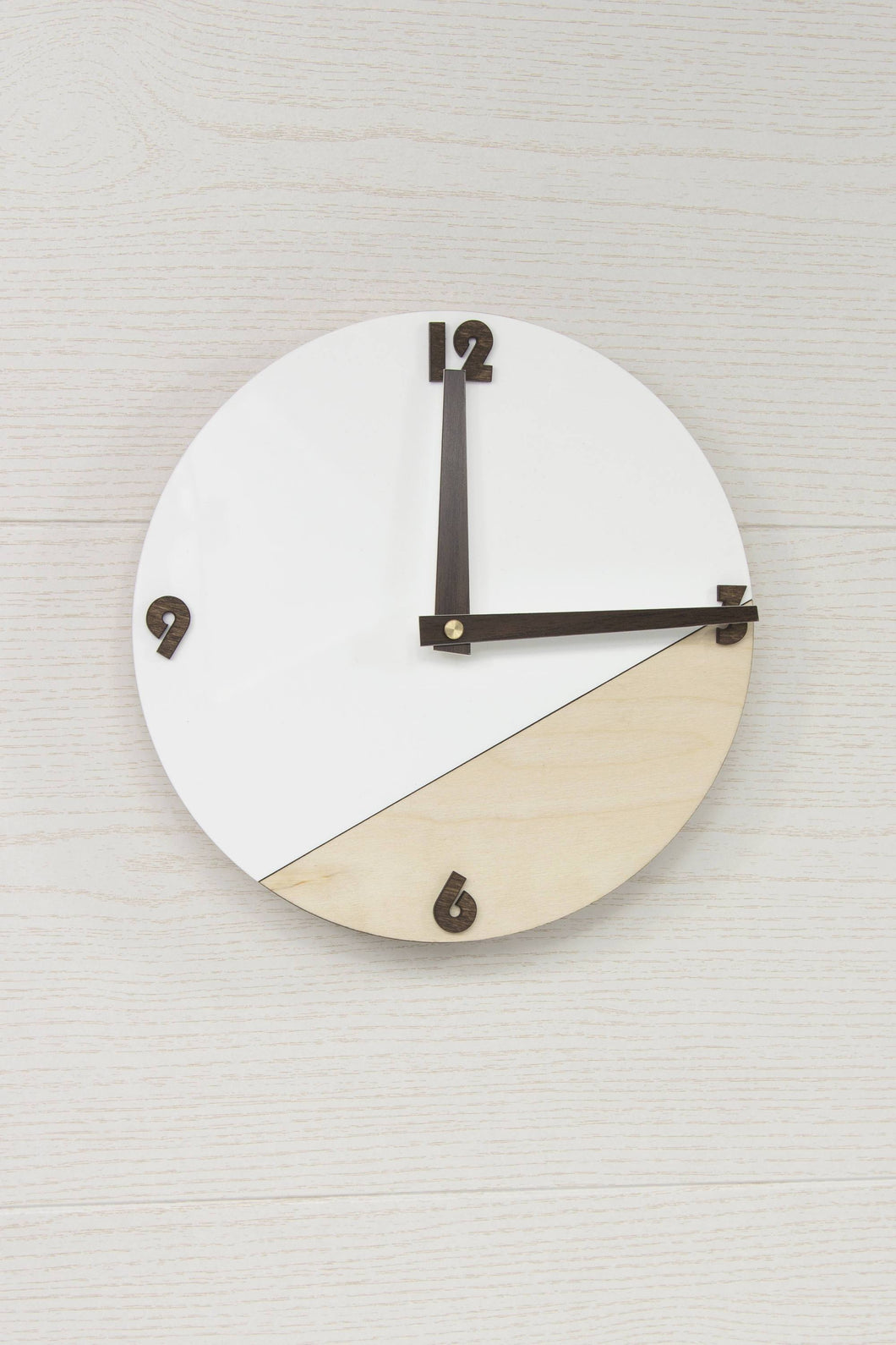 Modern Wall Decor, Round Clock, Minimalist Clock, Wooden Clock, Plywood Clock, White Clock, Rustic Wall Decor, Wall Clock, Wooden Clock