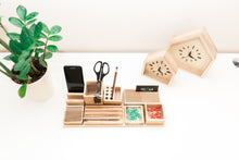 Load image into Gallery viewer, Desk organizer wood - Pen holder - Pencil holder - iPhone holder - Phone stand - 8th anniversary - Desk gift for her - Wood gift for wife
