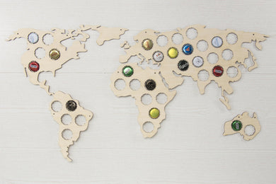 Beer bottle caps map - Beer cap display - Wooden caps holder - Bottle caps holder - Collecting beer caps - Man cave decor - World map