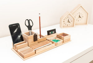 Desk organizer wood - Pen holder - Pencil holder - iPhone holder - Phone stand - 8th anniversary - Desk gift for her - Wood gift for wife