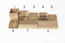 Load image into Gallery viewer, Complete desk organizer YOURSELF Oak desk organizer Wooden pen holder Card and phone holder