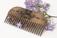 Load image into Gallery viewer, Beard comb - Wooden comb - Wood comb - Men comb -  Mustache comb - Men beard -  Men beard gift