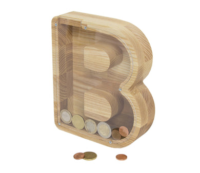 B letter money box - Child money box - Wooden money bank - Kids piggy bank - Baby birth gift