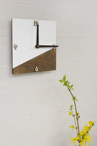 House wall clock - Square wall clock - Organic glass clock - White wall clock - Wooden wall clock - Modern wall clock - Office decor