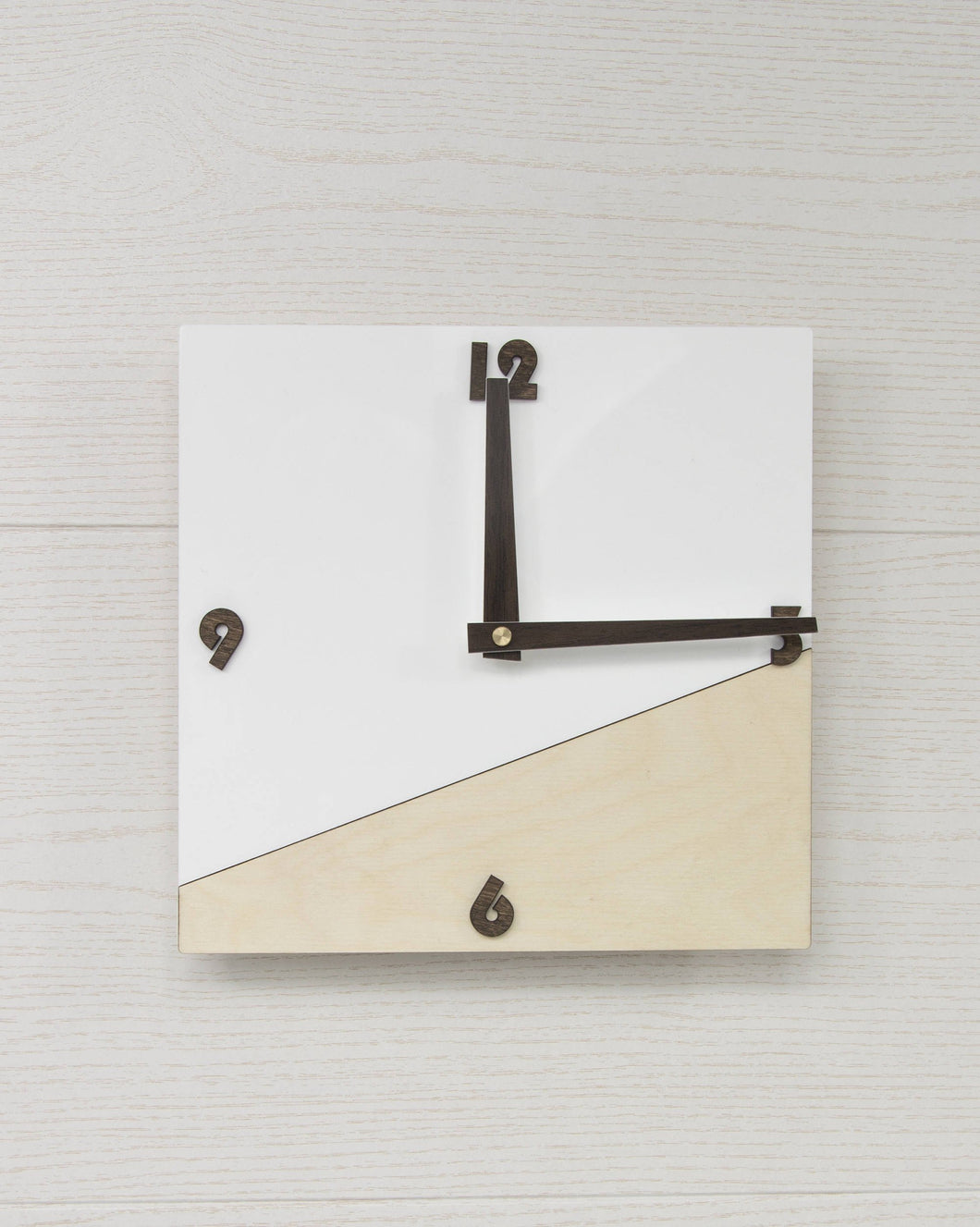 Minimalist Clock, Wooden Clock, Plywood Clock, Acrylic Clock, White Clock, Square Clock, Modern Wall Decor, Rustic Wall Decor, Wall Clock