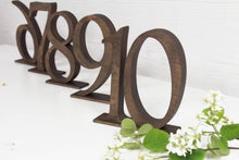 Load image into Gallery viewer, Wooden table numbers SET of 5 - Brown table numbers - Rustic table numbers - Wedding table numbers - Table signs - Wedding table decor