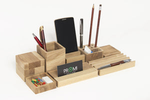 Complete desk organizer YOURSELF Oak desk organizer Wooden pen holder Card and phone holder