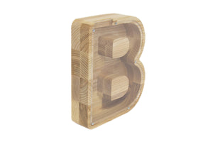 B letter money box - Child money box - Wooden money box - Wooden money bank - Baby piggy bank - Kids piggy bank - Baby birth gift