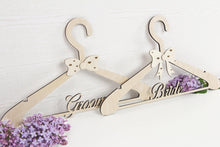 Load image into Gallery viewer, Wedding Dress Hanger, Wedding Hanger, Bridal Hanger, Bride Hanger, Bridesmaid Hangers, Wedding Shower Gift, Groom Hanger,  SET OF 2
